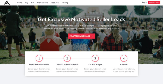 Motivated seller lead marketplace